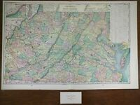 "VIRGINIA WEST VIRGINIA 1900 Vintage Map 22""x14"" Old Antique Original CHARLESTON"