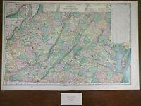 "VIRGINIA WEST VIRGINIA 1900 Vintage Atlas Map 22""x14"" ~ Old Antique CHARLESTON"