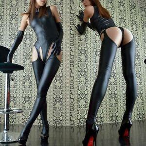 Women Sexy Wetlook Leather Bodysuit Catsuit Zipper Leotard + Pantyhose + Gloves