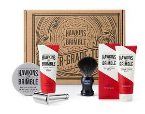 Hawkins & Brimble Razor, Shave Brush, Shave Cream, After Shave Balm Facial Scrub