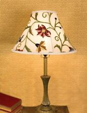 Victorian Trading Co Silk Wool Embroidered Wildflowers Floral Ivory Lamp Shade