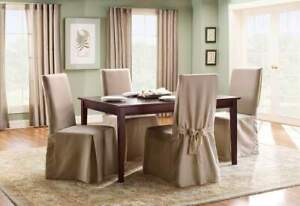Sure Fit long Duck cotton dining chair  washable slipcover linen NEW B