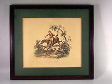 LITHO  ANCIENNE, Carle Vernet, Barrière Franchie, cheval, cavalier, chien