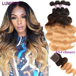 Brazilian Hair Weave Bundles Closure Body Weave Human Hair 4 Bundles Non-Remy