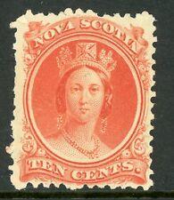 Canada 1860 Nova Scotia 10¢ Queen Victoria Yellow Paper Sc 12a Mint  F223