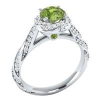 Women 925 Silver Jewelry Round Cut Peridot Elegant Wedding Ring Size 6-10