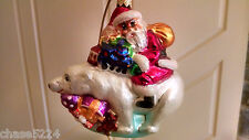 "Christopher Radko ""Riding Bearback"" Santa Polar Bear Christmas Gifts #98-158-0"