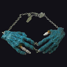 Kreepsville666 Natural Blue Zombie hands Necklace. Decaying hands. Horror/ Gore.