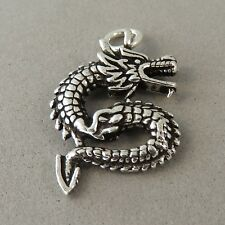 .925 Sterling Silver Double Sided DRAGON CHARM NEW Pendant Chinese 925 NEW MY29