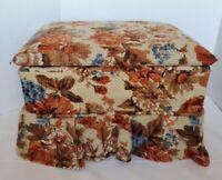 "Vintage Ottoman FootStool Rest Top Storage Sewing? Skirted Apolstered Orange 16"""