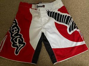 Hayabusa MMA BJJ Kick Boxing Shorts 2XL 38 Waist White/Red
