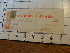 Cancelled Check: 1875 FARMERS NATIONAL BANK OF NEW JERSEY  mount holly NJ,