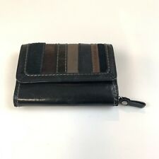 Fossil Women's Wallet Trifold Leather Solid Black With Striped Button Shut