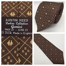 Austin Reed 8.5cm Wide 100% Silk Zodiac Collection Gemini Classic Vintage Tie