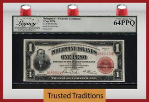 TT PK 68a 1924 PHILIPPINES TREASURY CERTIFICATE 1 PESO LCG 64 PPQ NONE FINER