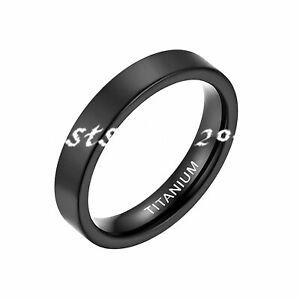 4/6/8MM Men Women Black Titanium Ring High Polished Wedding Band Size 4-15
