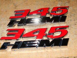 2x OEM Red 345 Emblems 345 Side Fender Badge 3D for 345HEMI Emblem Genuine