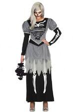 Déguisement GRIS NOIR Femme Mariée Zombie M/L 40/42 Squelette halloween NEUF
