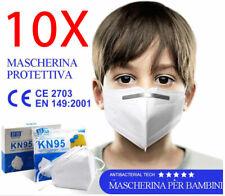 Kit 10x mascherina FFP2 KN95 mascherine facciali per studenti scolari bambini CE