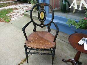 Vintage Hand Painted Over Black Arm Chair