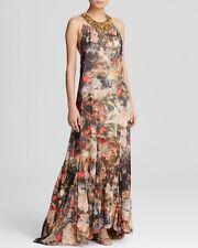 Alice & Olivia Jungle Safari Print Shona T-Back Bead Neck Maxi Dress $698 NWT S