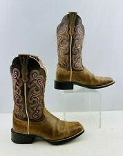 Ladies Ariat Brown Leather Square Toe Western Cowgirl Boots Size: 6 B