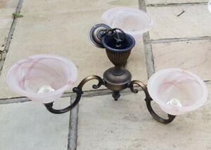 Pair Of David Hunt Brass 3 Light Ceiling Chandelier With Glass
