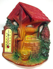 Vintage WISHING WELL w/THEMOMETER Chalkware Wall Plaque by Miller Studio 1966