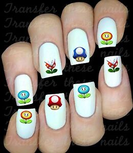 SUPER MARIO 1 UP  Stickers autocollant ongles manucure nail art water déco