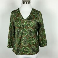 Talbots Petite 2P Blouse Popover V Neck 3/4 Sleeve Paisley Button Cuff