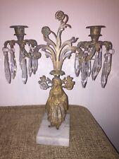"""Victorian """"Lady Sultan"""" Girandoles Candelabra Mantle Garniture wPrisms 19thc"""