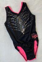 NASTIA LIUKIN Gymnastics Leotard GK ELITE Spanglez Bling BLACK Neon PINK Leo  AM