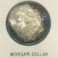 1884 O SILVER MORGAN DOLLAR UNC BU $1 GEM BLUE TONE NEW ORLEANS CAPITAL HOLDER