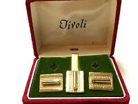 VINTAGE Gold Colored Metal Mens CUFF LINKS & TIE BAR Set