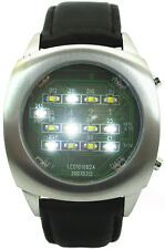 White Binary LED Watch Digital Display Black Leather Strap - Limited Edition