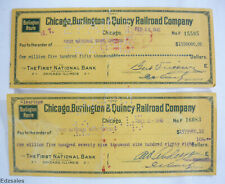 (2) 1945 Chicago Burlington Quincy Railroad Company $1.5M Dollar Cancelled Check