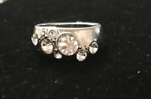 Womens Ring Silver Tone With Diamanté Costume Jewellery Size 9.5