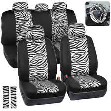 White/Black Zebra Animal Print Full Seat Cover Set Fits Car Truck Van- 12 PC