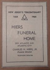 1964 Hiers Funeral Home Atlantic City New Jersey Advertisement