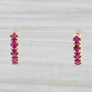 1.70ctw Ruby Hoop Earrings 14k Yellow Gold Snap Top Pierced July Birthstone
