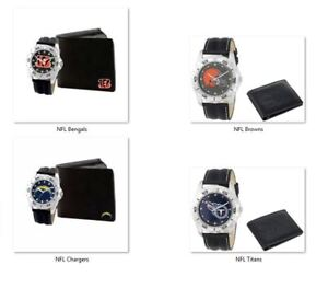 NFL Men's Black Watch and Leather Wallet Set by Game Time -Select- Team Below