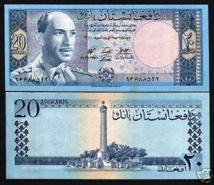 AFGHANISTAN 20 AFGHANIS P38 1961 KING ZAHIR MONUMENT AUNC CURRENCY AFG BILL NOTE