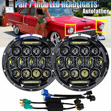 """Pair 7""""inch Round LED Headlight Projector Hi/Lo Beam Fit Chevrolet Classic Truck"""