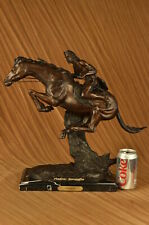 """FREDERIC REMINGTON BRONZE """"THE CHEYENNE"""" INDIAN CHIEF ON HORSE MARBLE DECOR SALE"""