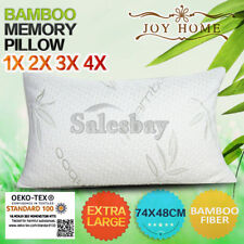 MULTI Extra Large 74x48cm Bamboo Pillow Memory Foam Fabric Fibre Contour Cover