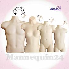 Male Female Child & Toddler Torso Mannequin Set - 4 Flesh Body Forms + 4 Hangers