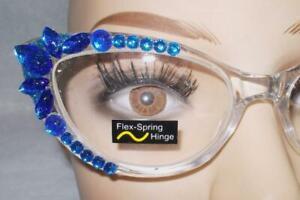READING GLASSES  GORGEOUS CLEAR FRAMES BLUE RHINESTONES 2.75 FREE USA SHIP