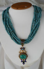 GOLD MONGOLIAN FILIGREE ENAMEL BLUE TOPAZ EMERALD AMAZONITE PENDANT NECKLACE