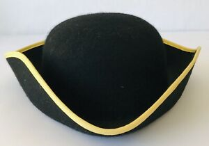 Wool Tricorn Hat w/ Gold Edge Pirate Costume Colonial Cosplay Theater Halloween