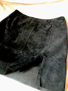 Black Suede Mini Skirt Vintage Genuine Leather Panels Side Slits